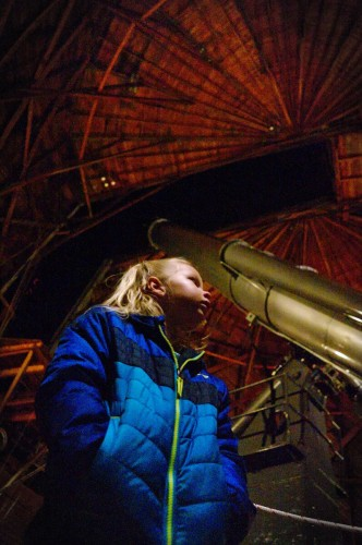 Heather with the Clark Telescope behind her.