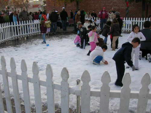 Yes, the city brought in snow for the festivities.